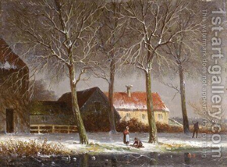 Peasants on a tree-lined snowcovered track, with farms beyond by Adrianus Eversen - Reproduction Oil Painting