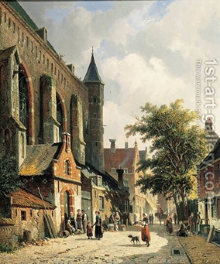 Straatje te Edam Townsfolk in a sunlit street by Adrianus Eversen - Reproduction Oil Painting