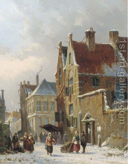 Townsfolk in a snow covered street by Adrianus Eversen - Reproduction Oil Painting