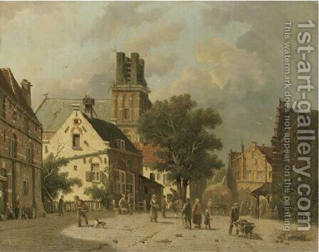 Townsfolk on a square, Ransdorp by Adrianus Eversen - Reproduction Oil Painting
