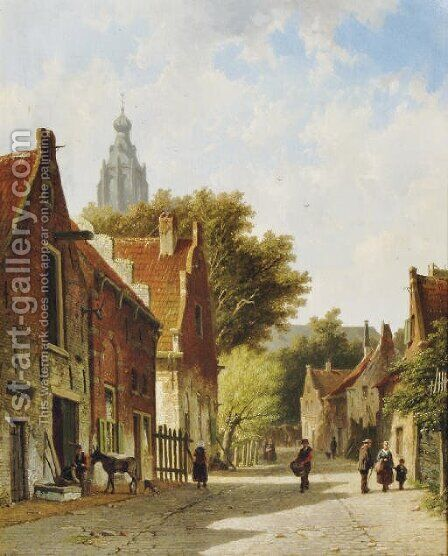 Townspeople in a sunlit street by Adrianus Eversen - Reproduction Oil Painting