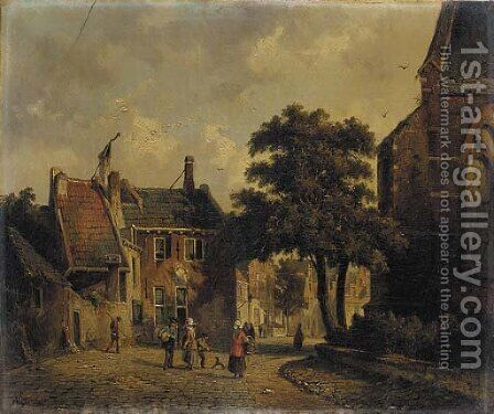 A town in summer with figures conversing by Adrianus Eversen - Reproduction Oil Painting