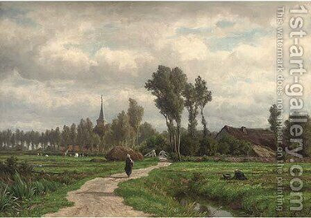 A figure on a village track by Caesar Van Everdingen - Reproduction Oil Painting