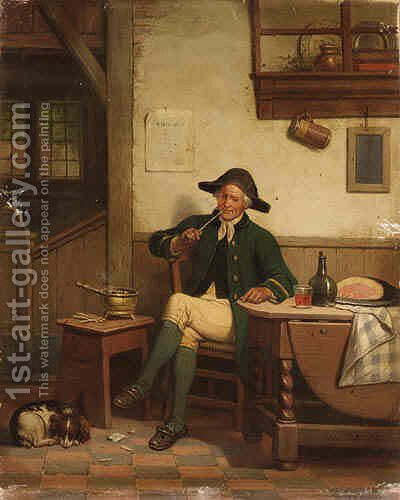 An Officer Smoking a Pipe by Adrien Ferdinand de Braekeleer - Reproduction Oil Painting