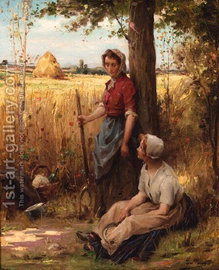 A rest from the harvest by Adrien Henri Tanoux - Reproduction Oil Painting