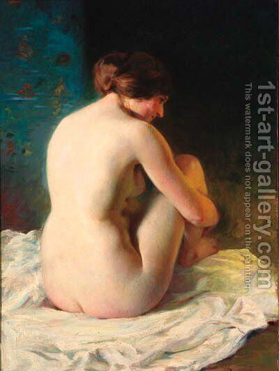 A seated nude by Adrien Louis Demont - Reproduction Oil Painting