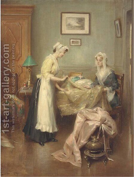 A meeting with the dressmaker by Henri Adriene Tanoux - Reproduction Oil Painting