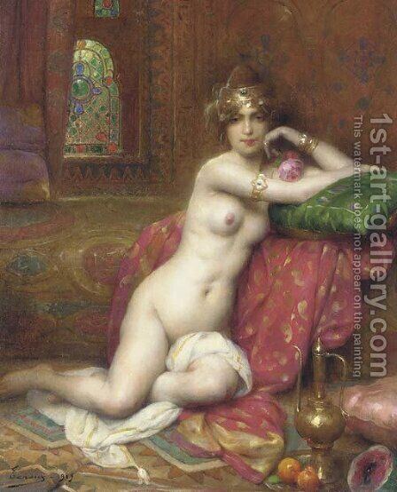 An Oriental Beauty in an Interior by Henri Adriene Tanoux - Reproduction Oil Painting