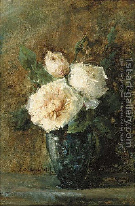 White roses in a blue vase by Adrienne J. Van Hogendorp-S'Jacob - Reproduction Oil Painting