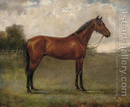 A bay horse in a paddock by Adrienne Lester - Reproduction Oil Painting