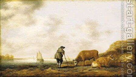 A river landscape with a cowherd resting on his crook, smalschips on a river beyond by Aelbert Cuyp - Reproduction Oil Painting