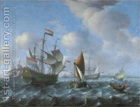 Het Wapen van Utrecht, a wijdschip and a spiegelsloep in a stiff breeze by Aernout Smit - Reproduction Oil Painting