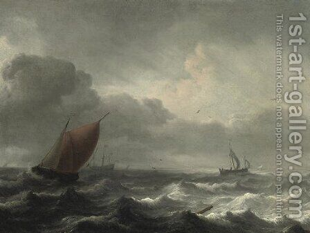A three-master in choppy waters, a coast beyond by Aernout Smit - Reproduction Oil Painting