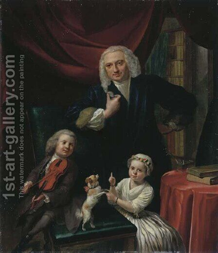 Portrait of a family, small, full-length, said to be Yoan van Wageningen (b. 1704) and children, Yan (b. 1733) and Cornelia (b. 1734), in an interior by Aert Schouman - Reproduction Oil Painting
