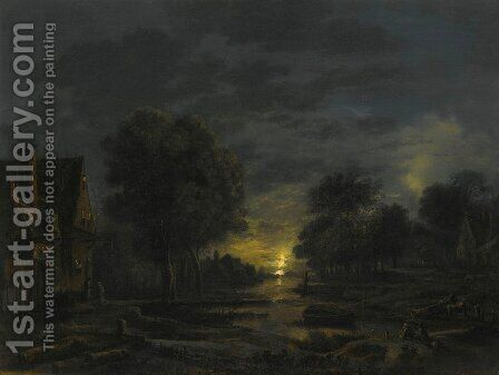 A moonlight river landscdape with two men resting on the bank by Aert van der Neer - Reproduction Oil Painting