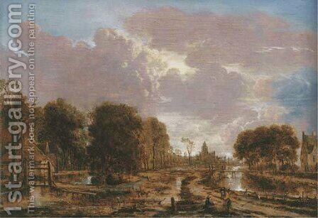 A wooded landscape with peasants conversing on a road by a canal, a cottage to the left, a town beyond by Aert van der Neer - Reproduction Oil Painting