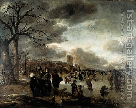 Skaters on the river by Aert van der Neer - Reproduction Oil Painting