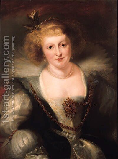 Portrait of Helena Fourment in a richly ornate dress by (after) Rubens, Peter Paul - Reproduction Oil Painting