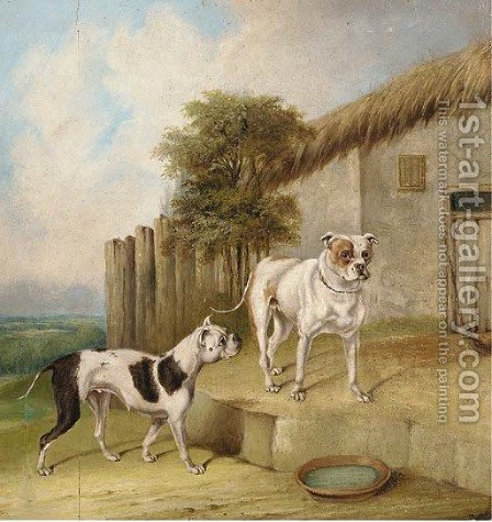 Crib and Rosa by an outhouse by Abraham Cooper - Reproduction Oil Painting