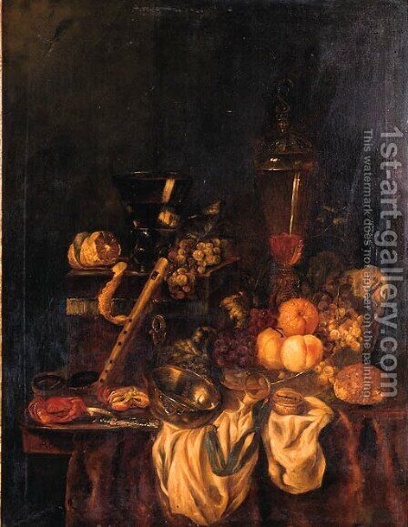 A Berkemeyer, Grapes And A Peeled Lemon On A Jewelry Box, Peaches, An Orange And Grapes In A Wan-Li Dish, Crabs And A Knife On A Pewter Plate by Abraham Hendrickz Van Beyeren - Reproduction Oil Painting