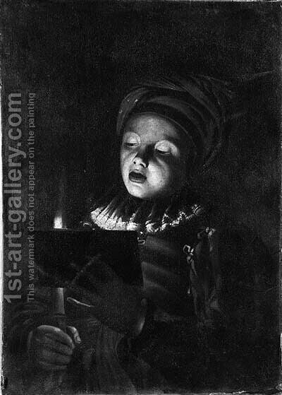 A youth singing by candlelight by Adam de Coster - Reproduction Oil Painting