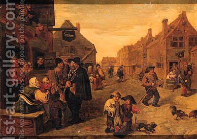 Boors listening to a liereman, outside a shoemaker's workshop, in a village street by (after) Adriaen Brouwer - Reproduction Oil Painting