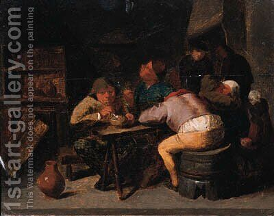 Boors smoking in an inn by (after) Adriaen Brouwer - Reproduction Oil Painting