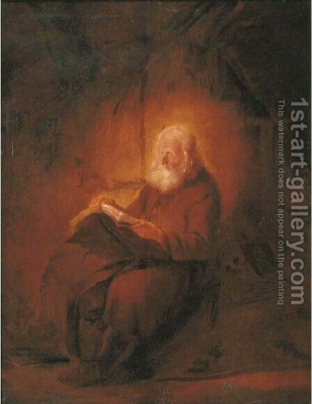 A hermit reading by (after) Adriaen Jansz. Van Ostade - Reproduction Oil Painting