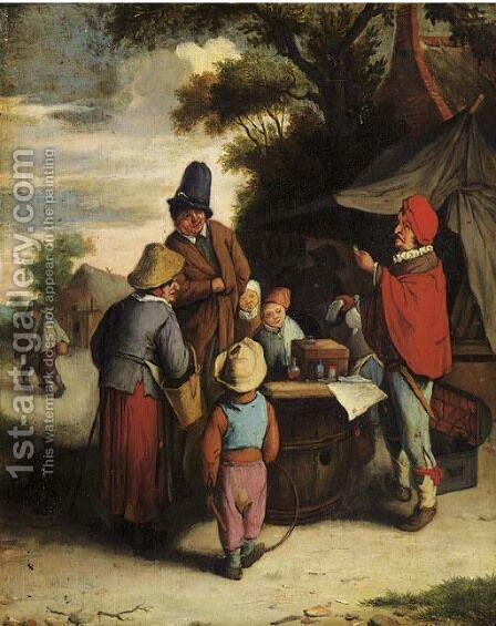 A quack in a village by (after) Adriaen Jansz. Van Ostade - Reproduction Oil Painting