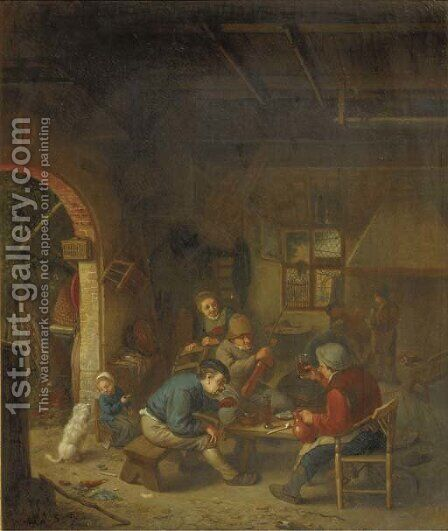 A violinist and peasants making merry outside an inn by (after) Adriaen Jansz. Van Ostade - Reproduction Oil Painting
