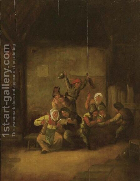 Boors drinking and singing in a barn by (after) Adriaen Jansz. Van Ostade - Reproduction Oil Painting