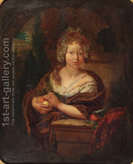 Portrait of a girl by (after) Adriaen Van Der Werff - Reproduction Oil Painting