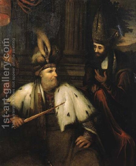 The meeting of Haman and King Ahasuerus by (after) Aert De Gelder - Reproduction Oil Painting