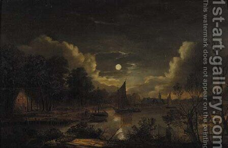 Fishermen sailing on a river by a village at night by (after) Aert Van Der Neer - Reproduction Oil Painting