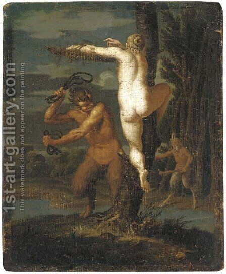 A satyr flogging a nymph by (after) Agostino Carracci - Reproduction Oil Painting