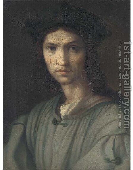 Portrait of a young man, bust-length by (after) Andrea Del Sarto - Reproduction Oil Painting
