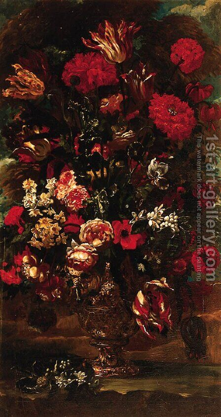 Flowers in a sculpted urn in a landscape by (after) Andrea Scacciati - Reproduction Oil Painting