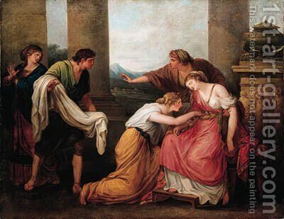Julia, wife of Pompey, faints at the sight of his bloodstained garment by (after) Kauffmann, Angelica - Reproduction Oil Painting