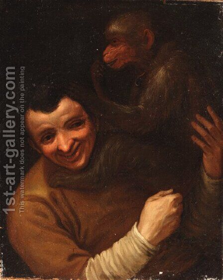 A man with a monkey by (after) Annibale Carracci - Reproduction Oil Painting