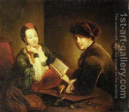 Portrait of a lady and a gentleman seated at a table in an interior by Antoine Pesne - Reproduction Oil Painting
