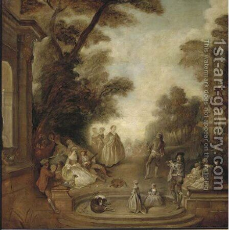 A merry company in a park landscape by Jean-Antoine Watteau - Reproduction Oil Painting