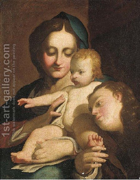 The Madonna and Child with the Infant Saint John the Baptist by (after) Antonio Allegri, Called Correggio - Reproduction Oil Painting