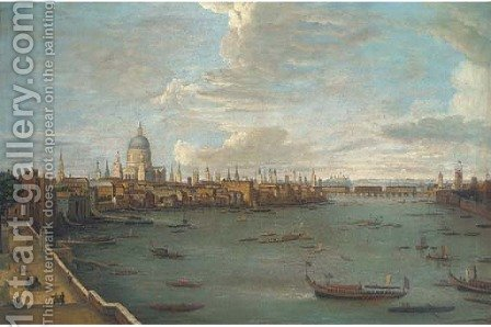 Vessels on the Thames by (Giovanni Antonio Canal) Canaletto - Reproduction Oil Painting