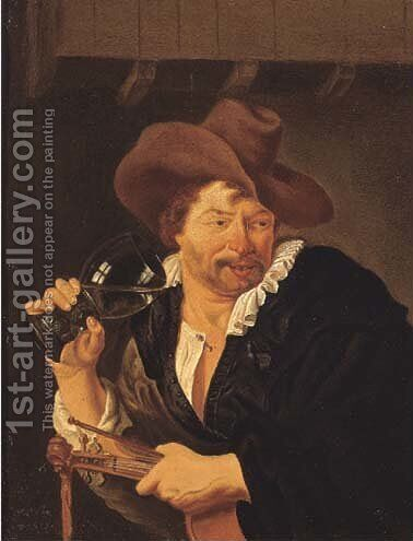 A violin player drinking in an inn by (after) Arie De Vois - Reproduction Oil Painting
