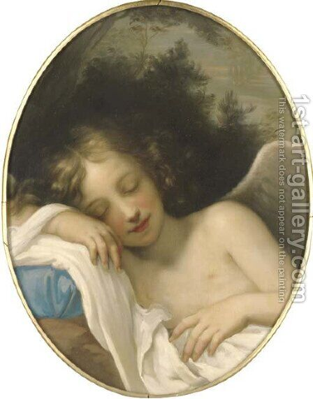 Sleeping Cupid, in a feigned oval by (after) Baldassarre Franceschini - Reproduction Oil Painting