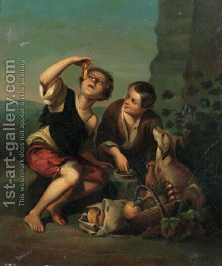 Vagabonds in a landscape by Bartolome Esteban Murillo - Reproduction Oil Painting