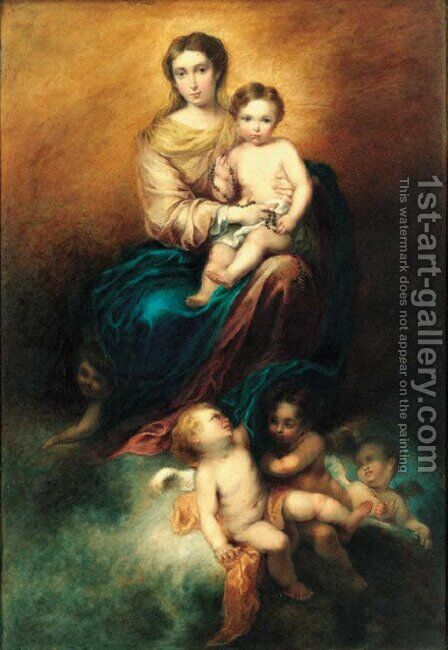 The virgin and child in glory by Bartolome Esteban Murillo - Reproduction Oil Painting