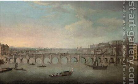 View of the Thames, with Westminster Bridge from the North by (Giovanni Antonio Canal) Canaletto - Reproduction Oil Painting
