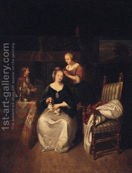 A lady seated in an interior with a spaniel on her lap, a servant tending her hair by (after) Caspar Netscher - Reproduction Oil Painting