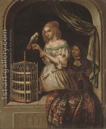 A lady with a parrot at a casement by (after) Caspar Netscher - Reproduction Oil Painting